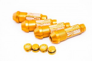GOLD MEDIUM 7cm 326POWER Alloy Wheel Locking Stance Nuts – 1.25 Pitch –  UK Stock