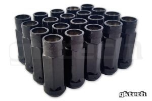 Gktech BLACK – OPEN ENDED LUG NUTS (PACK OF 20)