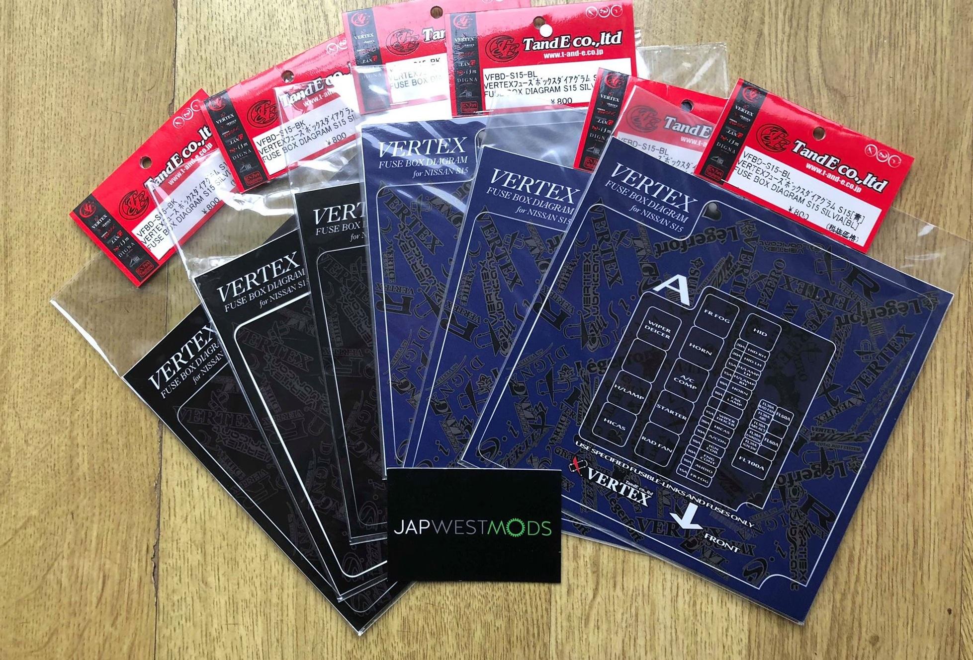 Exclusive Vertex Silvia Fuse Box Sticker - Black or Blue on